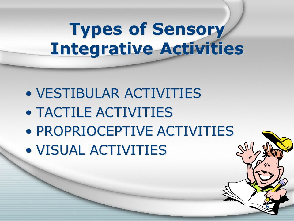 Indications of Possible Sensory Deficits VESTIBULAR TACTILE – Hyper-sensitivity (over sensitive to tactile experiences) TACTILE – Hypo-sensitivity (un