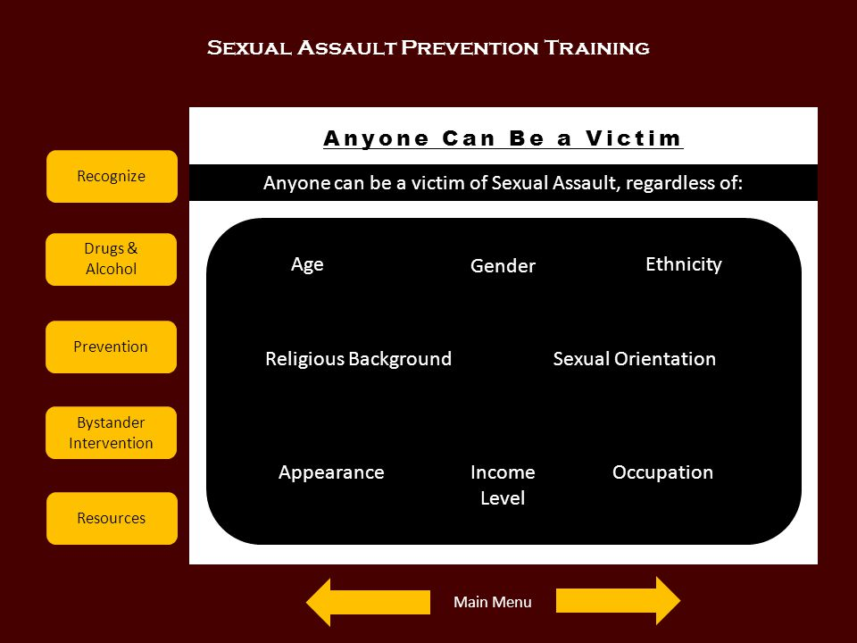 Sexual Assault Prevention Training Recognize Drugs & Alcohol Prevention Bystander Intervention Resources Anyone Can Be a Victim Examples Anyone can be