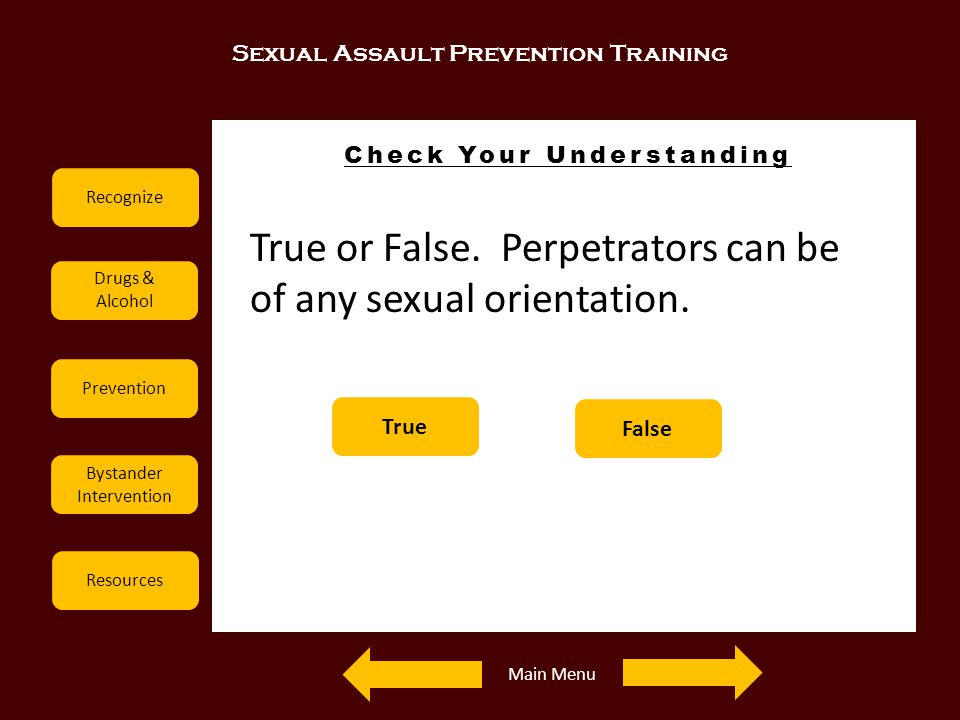 Sexual Assault Prevention Training Recognize Drugs & Alcohol Prevention Bystander Intervention Resources Check Your Understanding Examples True or Fal