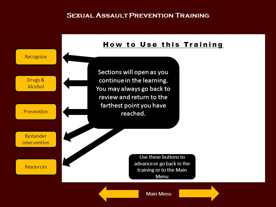 Sexual Assault Prevention Training Recognize Drugs & Alcohol Prevention Bystander Intervention Resources How to Use this Training Sections will open a
