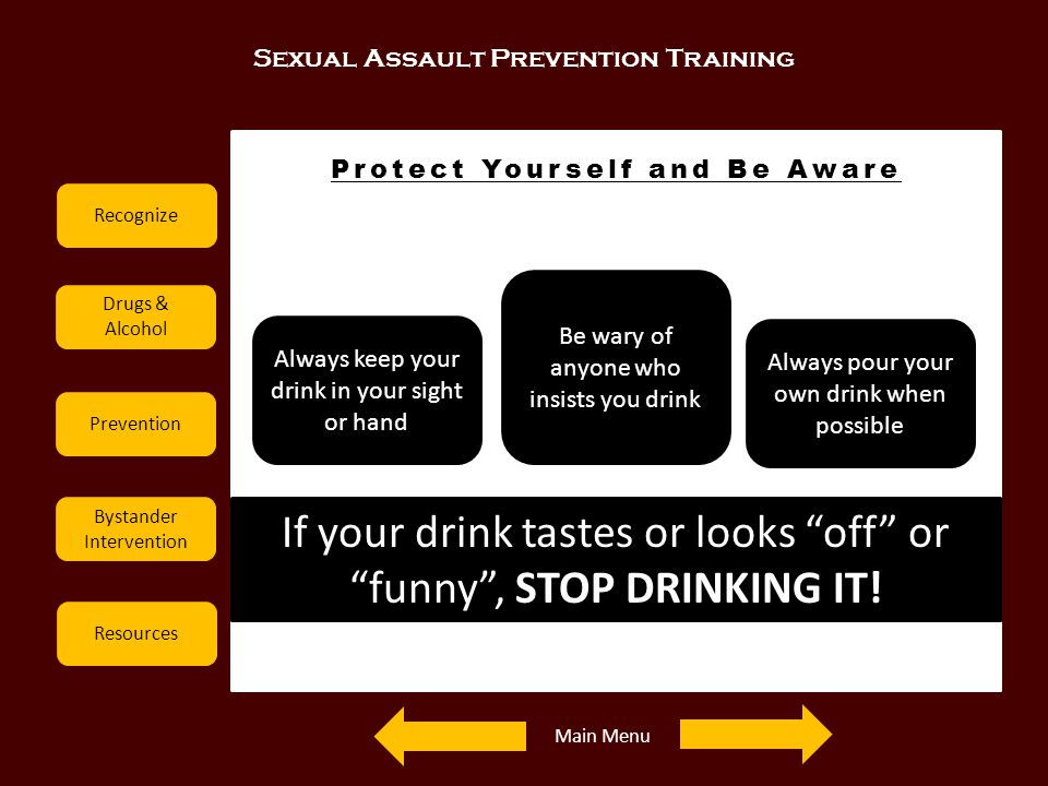Sexual Assault Prevention Training Recognize Drugs & Alcohol Prevention Bystander Intervention Resources Protect Yourself and Be Aware If your drink t