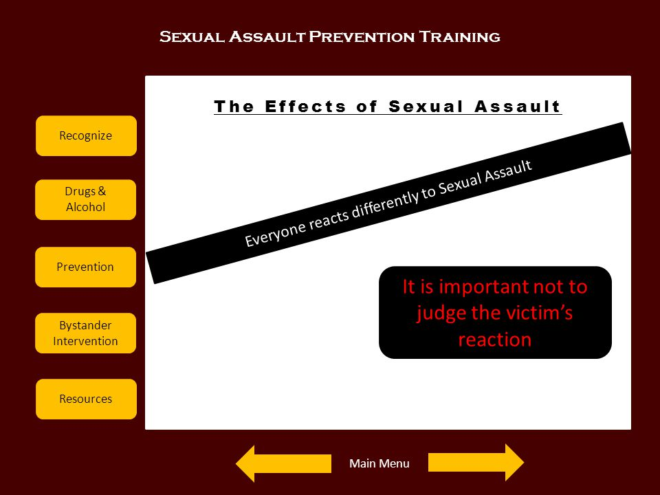 Sexual Assault Prevention Training Recognize Drugs & Alcohol Prevention Bystander Intervention Resources The Effects of Sexual Assault Everyone reacts