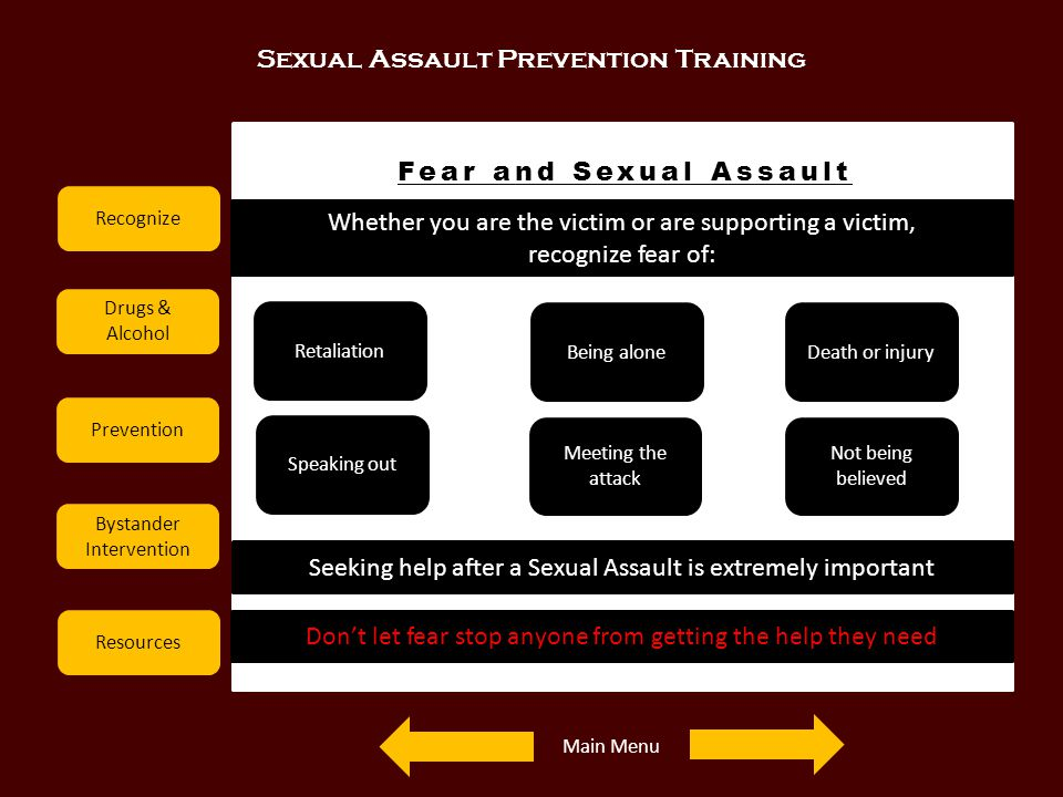 Sexual Assault Prevention Training Recognize Drugs & Alcohol Prevention Bystander Intervention Resources Fear and Sexual Assault Whether you are the v