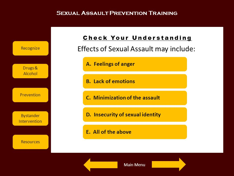 Sexual Assault Prevention Training Recognize Drugs & Alcohol Prevention Bystander Intervention Resources Check Your Understanding Effects of Sexual As