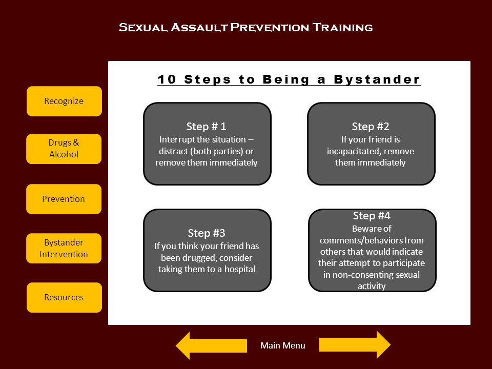 Sexual Assault Prevention Training Recognize Drugs & Alcohol Prevention Bystander Intervention Resources 10 Steps to Being a Bystander Step # 1 Interr