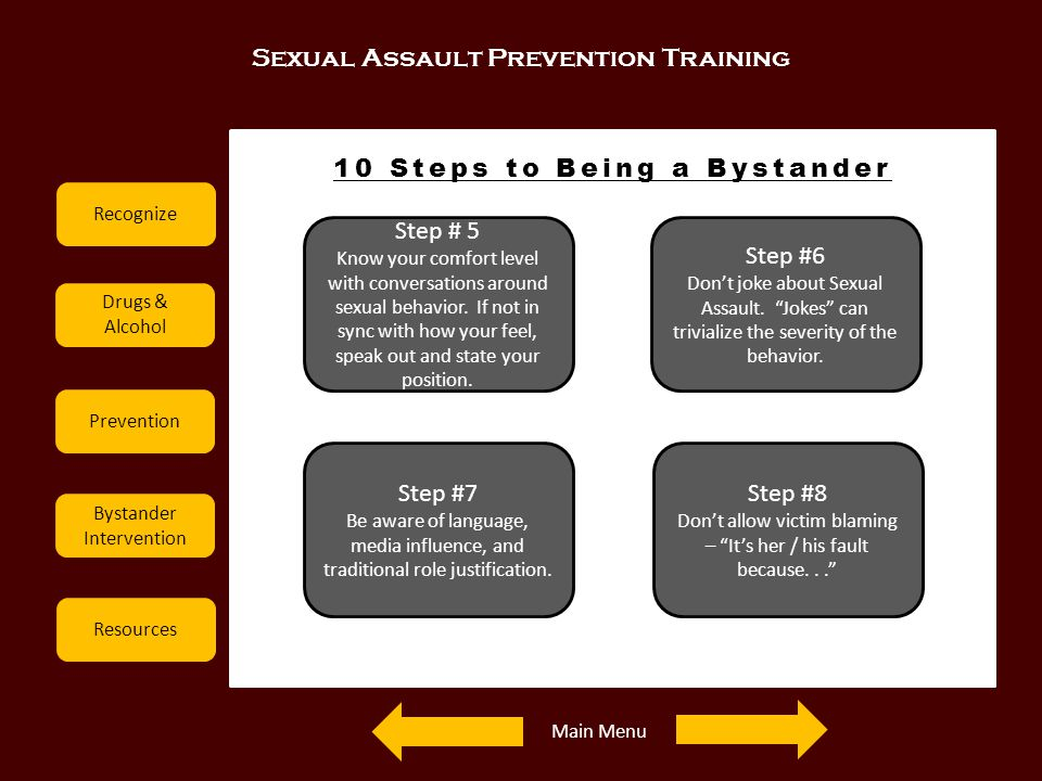 Sexual Assault Prevention Training Recognize Drugs & Alcohol Prevention Bystander Intervention Resources 10 Steps to Being a Bystander Step # 5 Know y