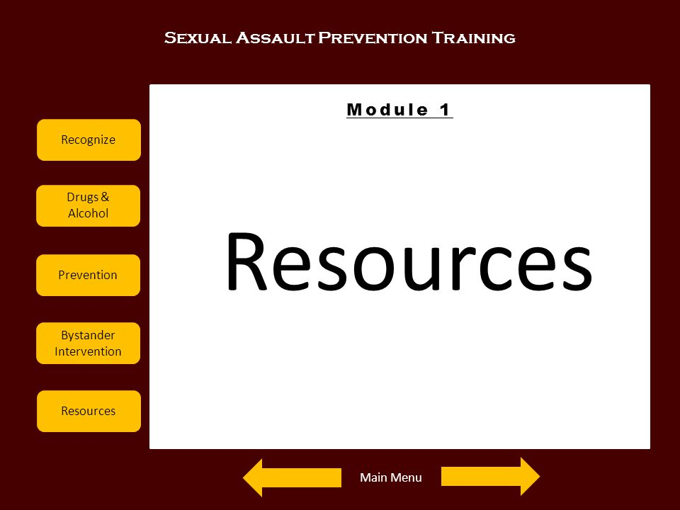Sexual Assault Prevention Training Recognize Drugs & Alcohol Prevention Bystander Intervention Resources Module 1 Resources Main Menu