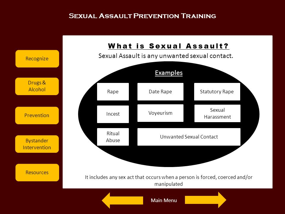 Sexual Assault Prevention Training Recognize Drugs & Alcohol Prevention Bystander Intervention Resources What is Sexual Assault? Sexual Assault is any