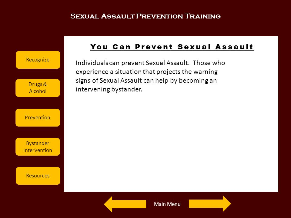 Sexual Assault Prevention Training Recognize Drugs & Alcohol Prevention Bystander Intervention Resources You Can Prevent Sexual Assault Examples Indiv