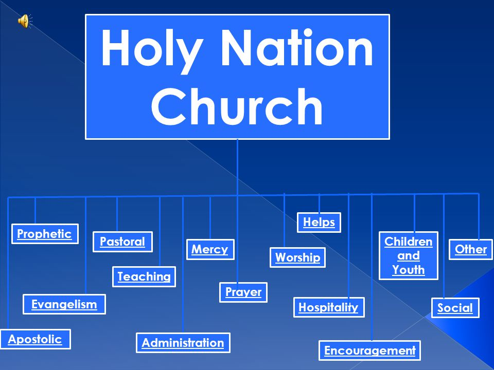 Other Social Children and Youth Hospitality Encouragement Helps Prayer Holy Nation Church Apostolic Evangelism Prophetic Pastoral Administration Mercy