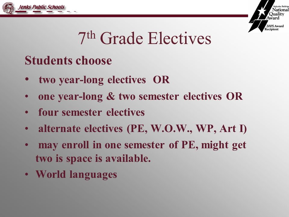 7 th Grade Electives Students choose two year-long electives OR one year-long & two semester electives OR four semester electives alternate electives