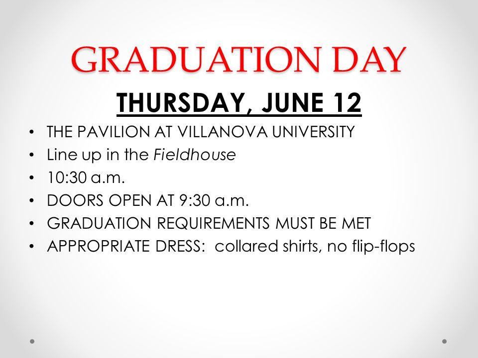 GRADUATION DAY THURSDAY, JUNE 12 THE PAVILION AT VILLANOVA UNIVERSITY Line up in the Fieldhouse 10:30 a.m. DOORS OPEN AT 9:30 a.m. GRADUATION REQUIREM