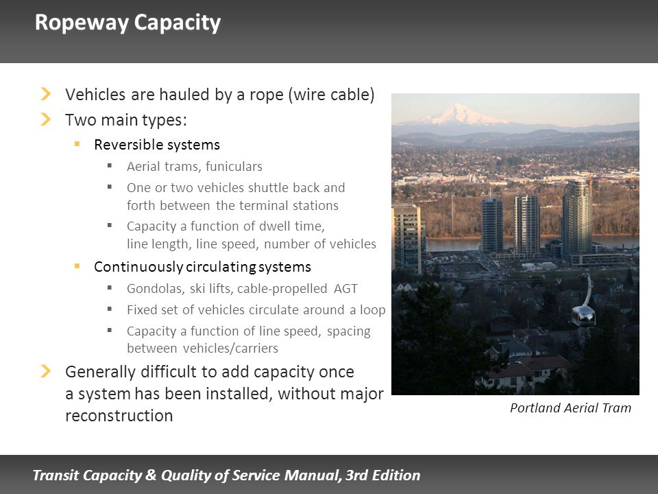 Transit Capacity & Quality of Service Manual, 3rd Edition Ropeway Capacity Vehicles are hauled by a rope (wire cable) Two main types: Reversible syste