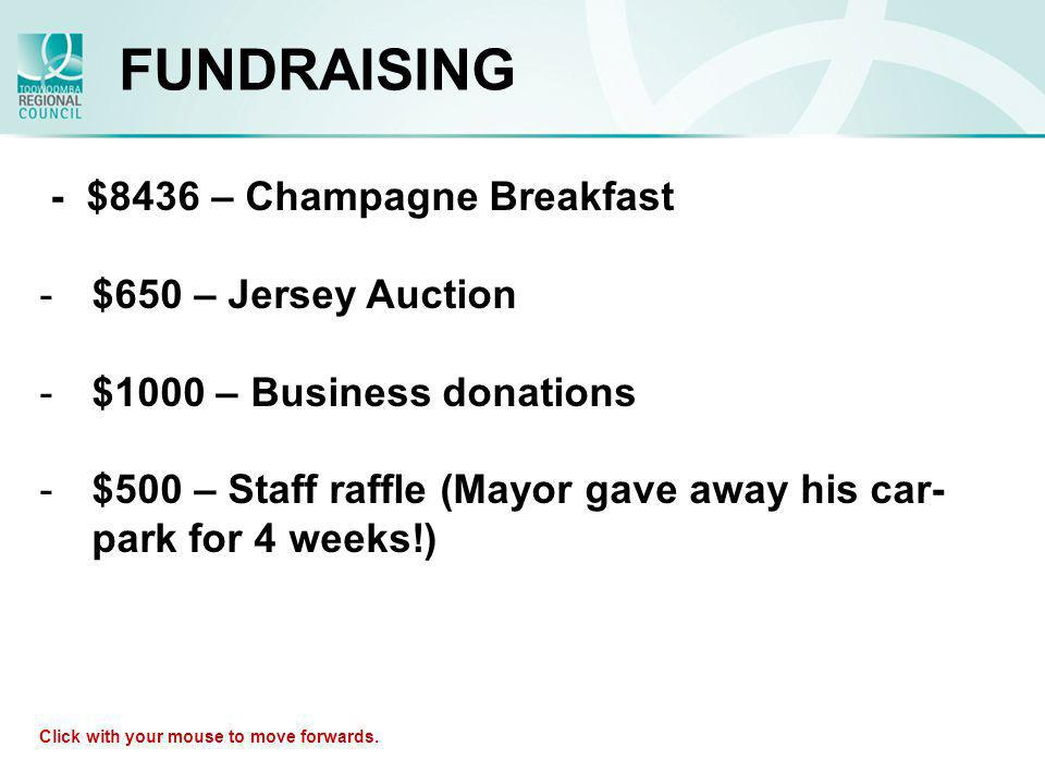 FUNDRAISING - $8436 – Champagne Breakfast -$650 – Jersey Auction -$1000 – Business donations -$500 – Staff raffle (Mayor gave away his car- park for 4
