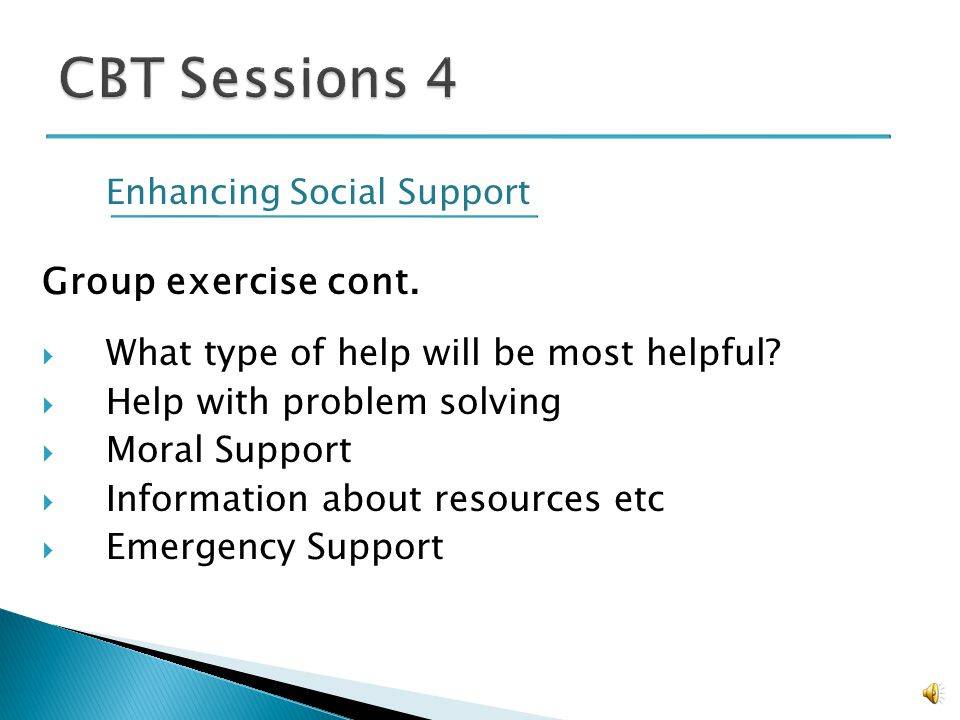 Enhancing Social Support Talking Points: Social support increases likelihood of success People usually dont have enough support There are a lot of potential people who can give support