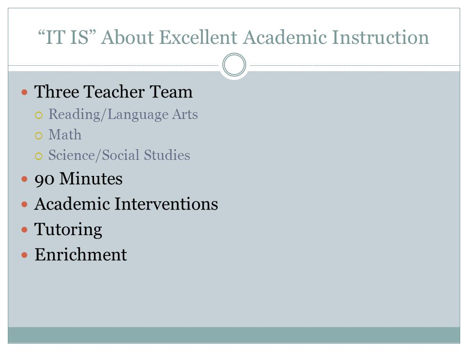 IT IS About Excellent Academic Instruction Three Teacher Team Reading/Language Arts Math Science/Social Studies 90 Minutes Academic Interventions Tuto