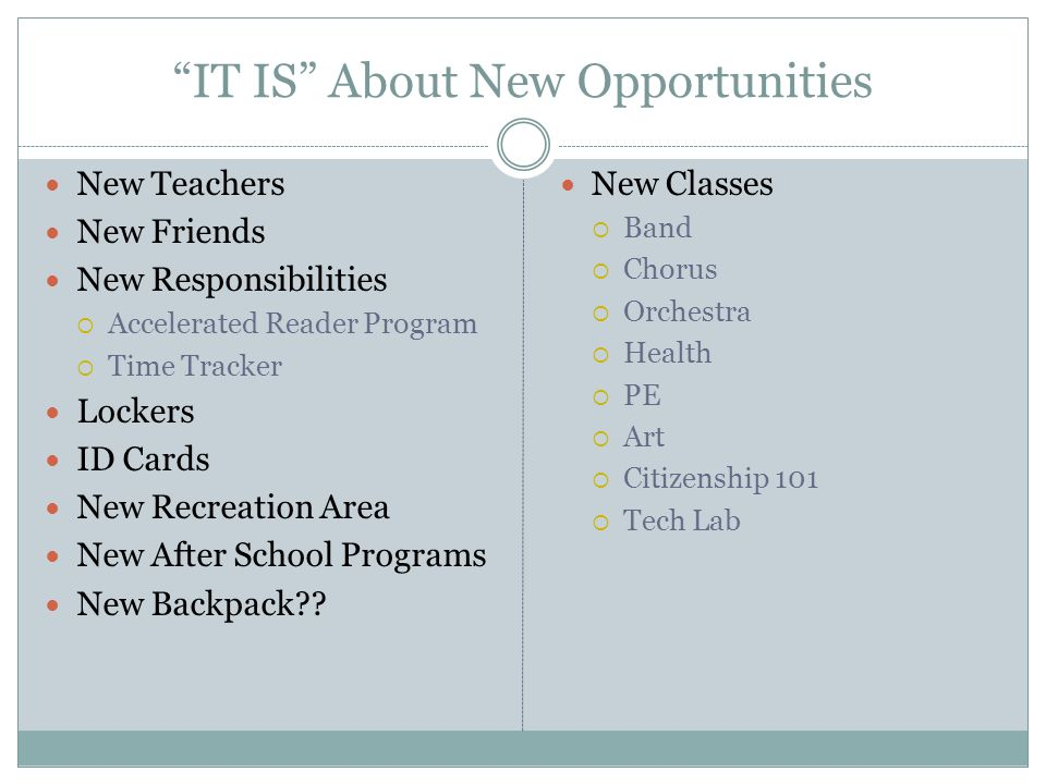 IT IS About New Opportunities New Teachers New Friends New Responsibilities Accelerated Reader Program Time Tracker Lockers ID Cards New Recreation Ar