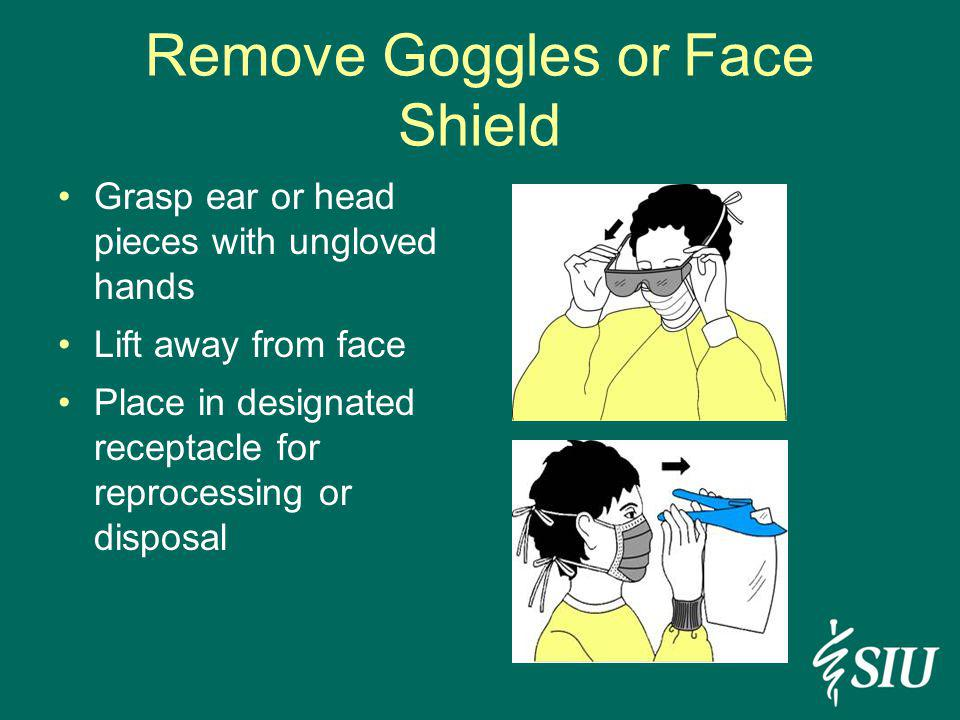Remove Goggles or Face Shield Grasp ear or head pieces with ungloved hands Lift away from face Place in designated receptacle for reprocessing or disp