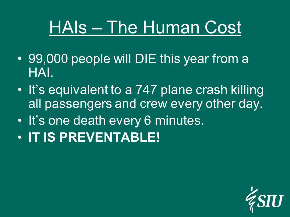 HAIs – The Human Cost 99,000 people will DIE this year from a HAI. Its equivalent to a 747 plane crash killing all passengers and crew every other day