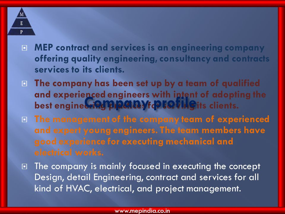 MEP contract and services is an engineering company offering quality engineering, consultancy and contracts services to its clients.