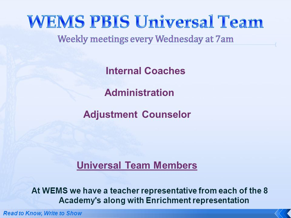 At WEMS we have a teacher representative from each of the 8 Academy's along with Enrichment representation Internal Coaches Administration Adjustment