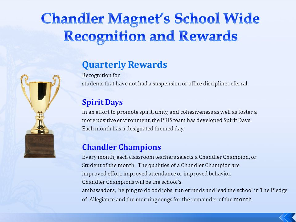 Quarterly Rewards Recognition for students that have not had a suspension or office discipline referral. Spirit Days In an effort to promote spirit, u