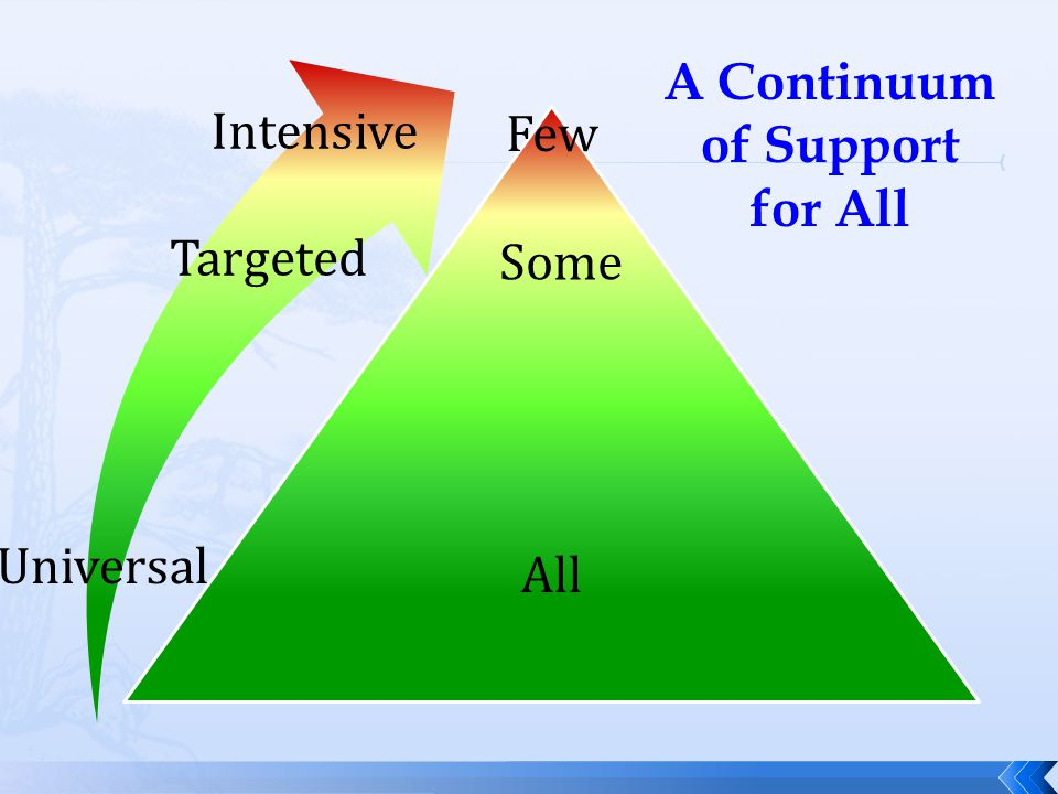 Targeted Intensive Universal All Some Few A Continuum of Support for All