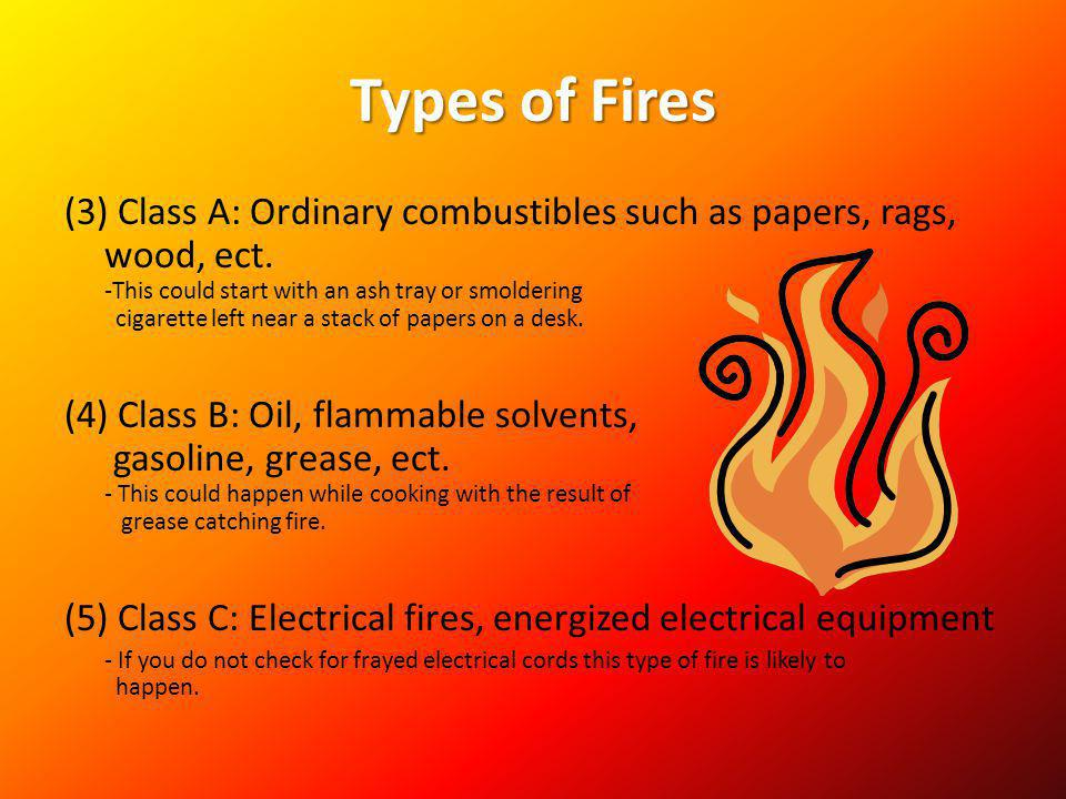 Types of Fires (3) Class A: Ordinary combustibles such as papers, rags, wood, ect. -This could start with an ash tray or smoldering cigarette left nea