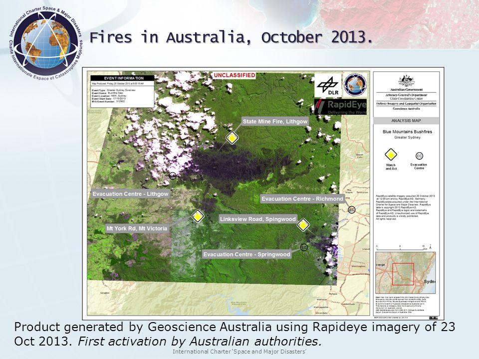International Charter Space and Major Disasters Fires in Australia, October 2013. Product generated by Geoscience Australia using Rapideye imagery of
