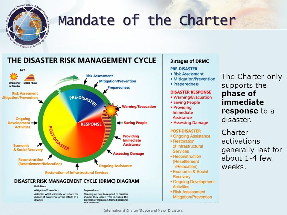 International Charter Space and Major Disasters The Charter only supports the phase of immediate response to a disaster. Charter activations generally
