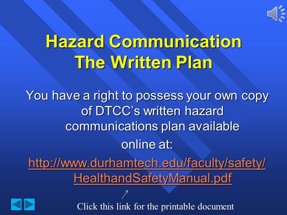 Durham Technical Community College Hazard Communication The Written Plan