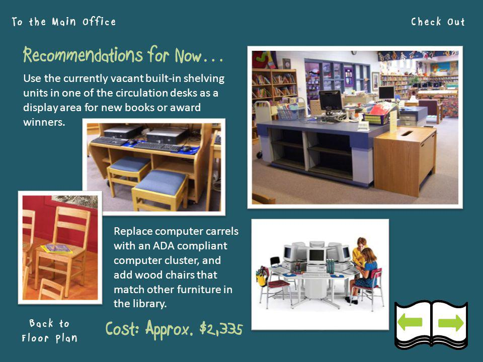 Check Out Back to Floor Plan To the Main Office Recommendations for Now… Use the currently vacant built-in shelving units in one of the circulation desks as a display area for new books or award winners.