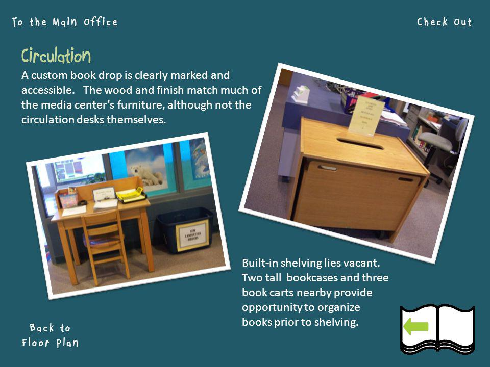 Circulation Check OutTo the Main Office Back to Floor Plan A custom book drop is clearly marked and accessible.