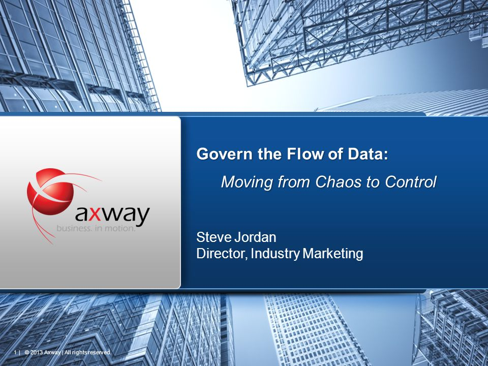 | © 2013 Axway | All rights reserved. 1 Govern the Flow of Data: Moving from Chaos to Control Steve Jordan Director, Industry Marketing