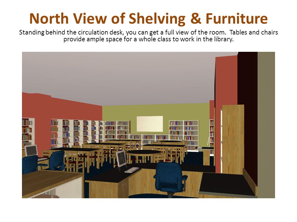 North View of Shelving & Furniture Standing behind the circulation desk, you can get a full view of the room.