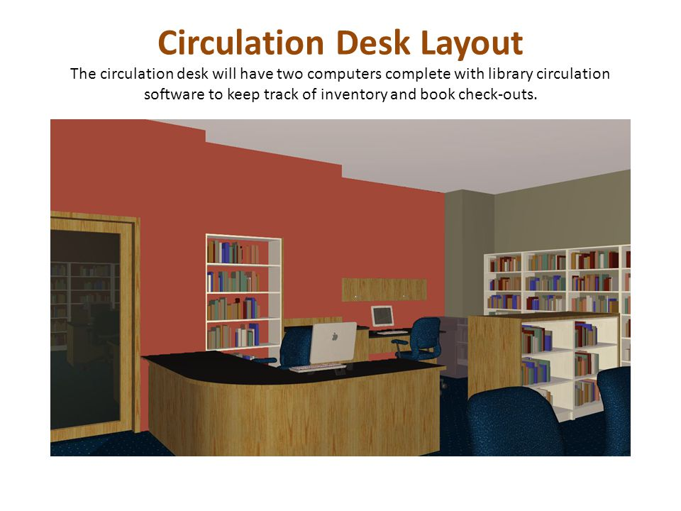 Circulation Desk Layout The circulation desk will have two computers complete with library circulation software to keep track of inventory and book check-outs.
