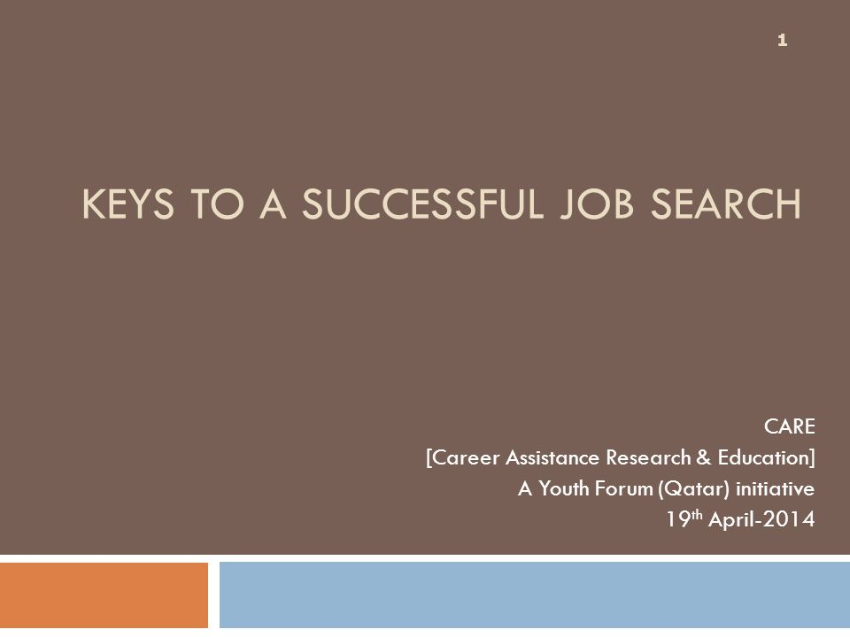 KEYS TO A SUCCESSFUL JOB SEARCH CARE [Career Assistance Research & Education] A Youth Forum (Qatar) initiative 19 th April-2014 1