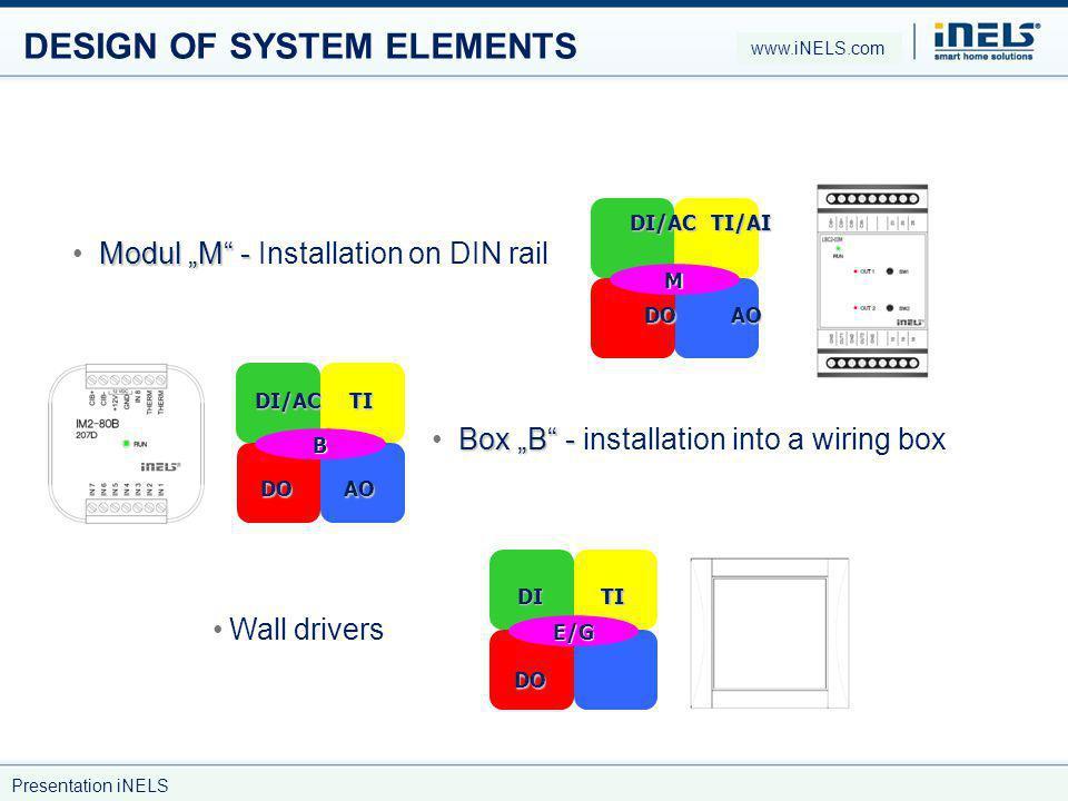 DESIGN OF SYSTEM ELEMENTS Modul M - Modul M - Installation on DIN rail M DI/ACTI/AI DOAO Box B - Box B - installation into a wiring box B DI/ACTI DOAO Wall drivers E/G DITI DO www.iNELS.com Presentation iNELS