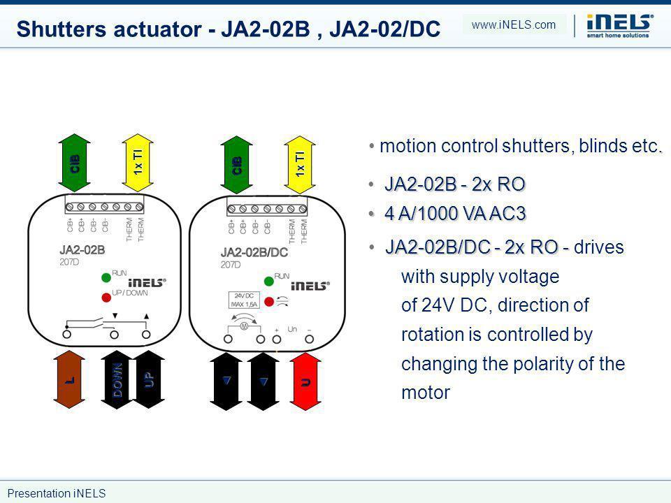 Shutters actuator - JA2-02B, JA2-02/DC.motion control shutters, blinds etc.
