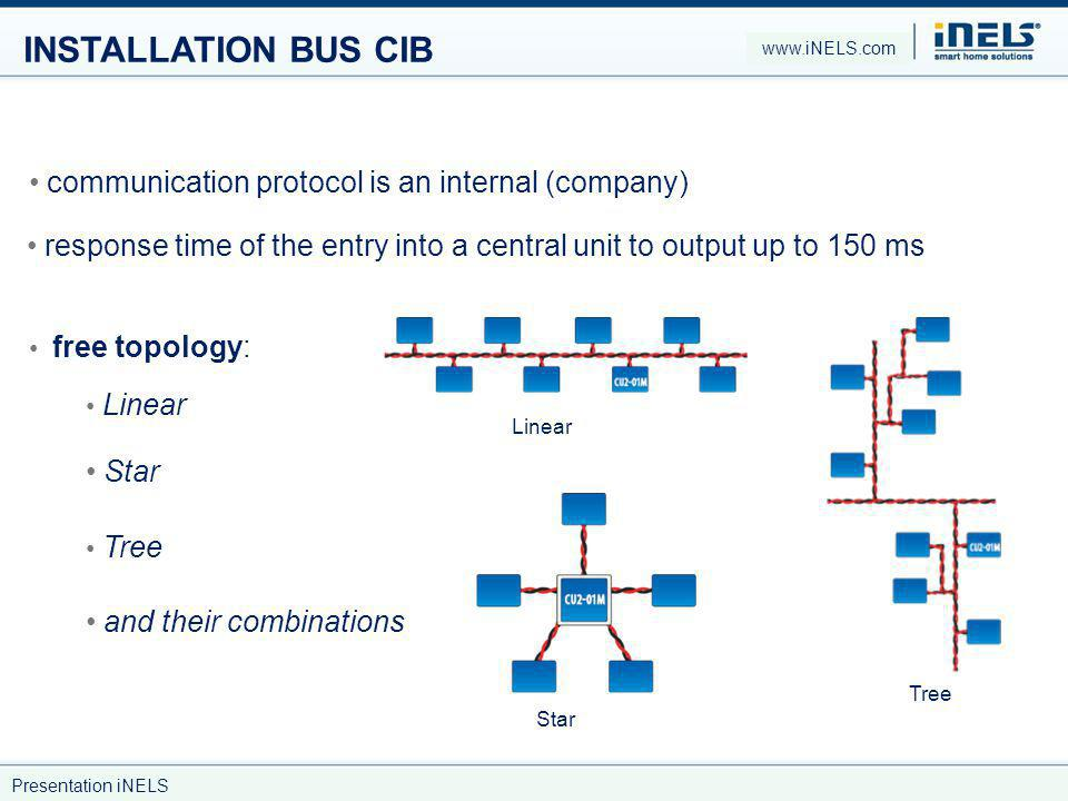 INSTALLATION BUS CIB communication protocol is an internal (company) response time of the entry into a central unit to output up to 150 ms free topolo
