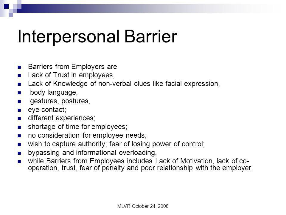 MLVR-October 24, 2008 Attitudinal Barrier It comes about as a result of problems with staff in the organization.