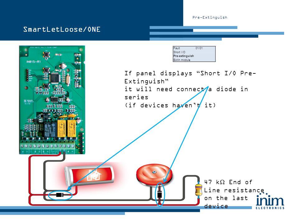 Pre-Extinguish SmartLetLoose/ONE Fault 01/01 Short I/O Pre-extinguish Extin.module If panel displays Short I/O Pre- Extinguish it will need connect a