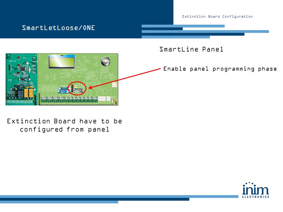 Extinction Board have to be configured from panel SmartLine Panel Enable panel programming phase SmartLetLoose/ONE
