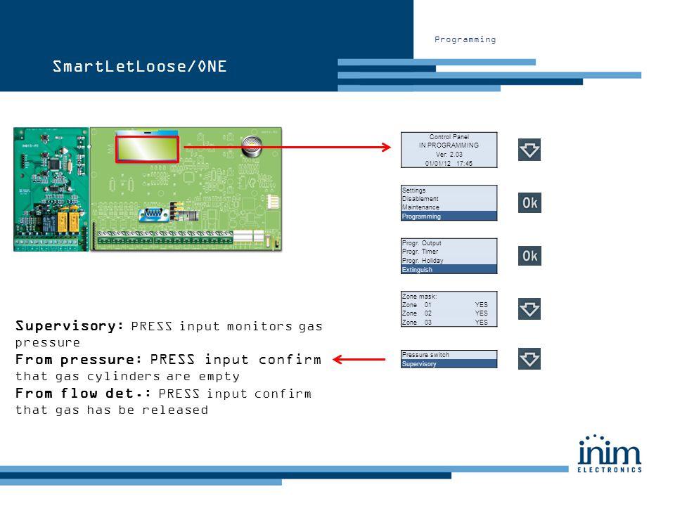 Programming Control Panel IN PROGRAMMING Ver: 2.03 01/01/12 17:45 Settings Disablement Maintenance Programming Progr. Output Progr. Timer Progr. Holid