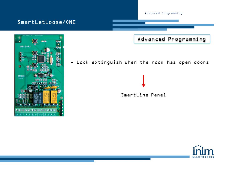 Advanced Programming SmartLetLoose/ONE - Lock extinguish when the room has open doors SmartLine Panel