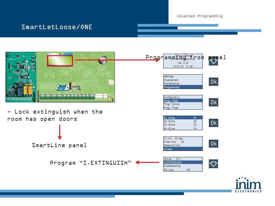 Advanced Programming Control Panel IN PROGRAMMING Ver: 2.03 01/01/12 17:45 Configuration Progr. Zone Progr. Output Progr. Timer SmartLetLoose/ONE - Lo