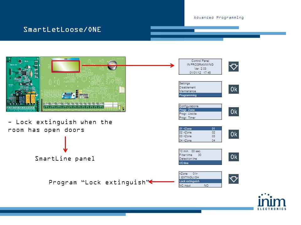 Advanced Programming Control Panel IN PROGRAMMING Ver: 2.03 01/01/12 17:45 Configurazione Progr. Zone Progr. Uscite Progr. Timer SmartLetLoose/ONE - L