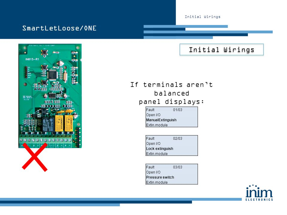 Initial Wirings SmartLetLoose/ONE If terminals arent balanced panel displays: Fault 01/03 Open I/O ManualExtinguish Extin.module Fault 02/03 Open I/O
