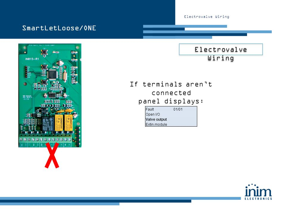 If terminals arent connected panel displays: Fault 01/01 Open I/O Valve output Extin.module Electrovalve Wiring