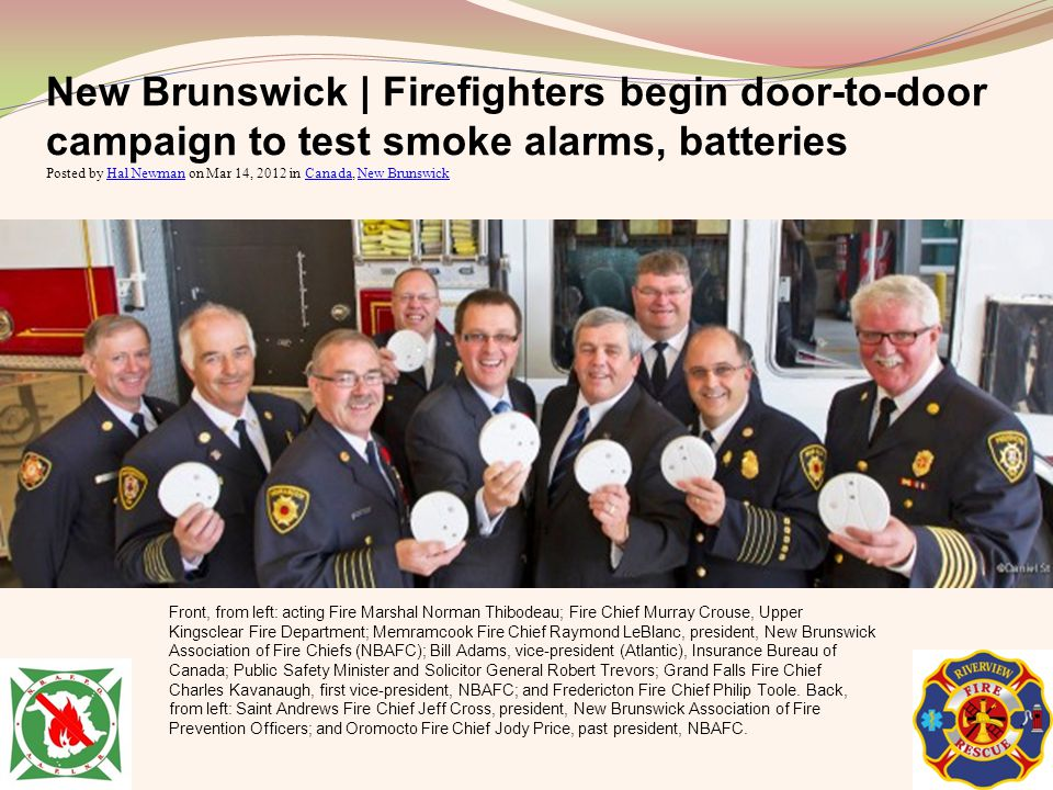 New Brunswick | Firefighters begin door-to-door campaign to test smoke alarms, batteries Posted by Hal Newman on Mar 14, 2012 in Canada, New Brunswick